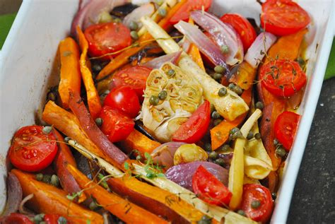 roasted vegetables with caper vinaigrette relishing it