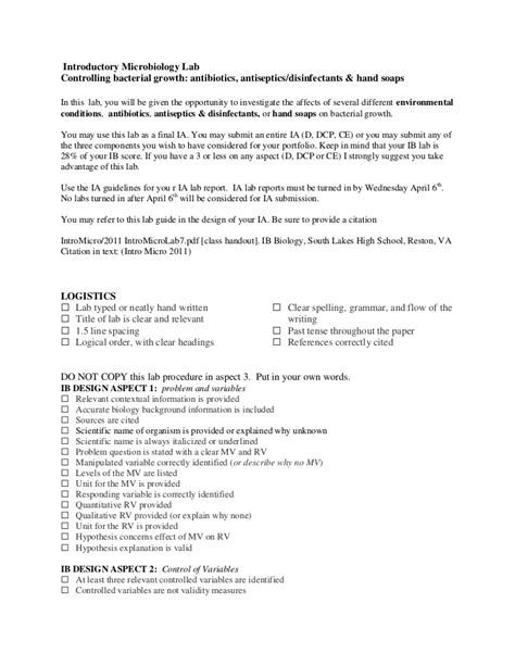 microbiology lab report template introductory microbiology lab the ia word