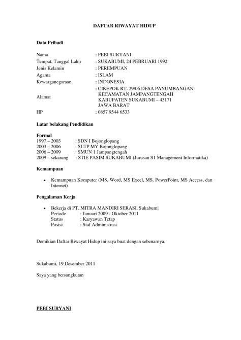 format daftar riwayat hidup via email 18 format daftar riwayat hidup ben jobs