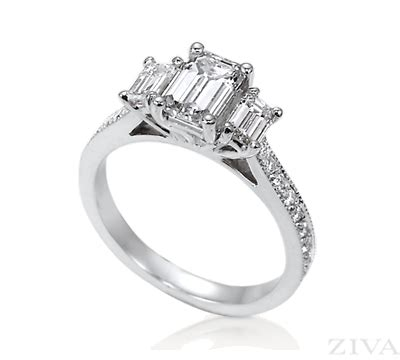 3 emerald cut engagement ring with eternity band