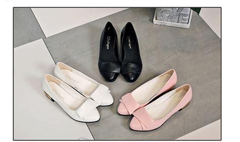 Sepatu Wanita Hak Rendah Branded Jujuba lcfu764 ikatan simpul wanita kulit menunjuk rendah hak sepatu putih lazada indonesia