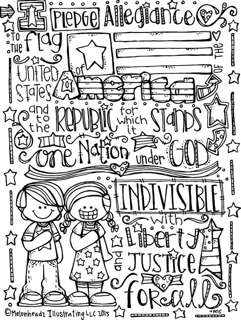 Melonheadz Lds Illustrating Happy 4th Of July Pledge Of Allegiance Coloring Page