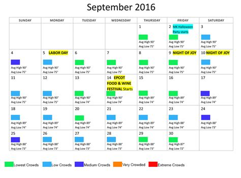 Calendar Weather September 2016 Disney World Crowds Weather Calendar