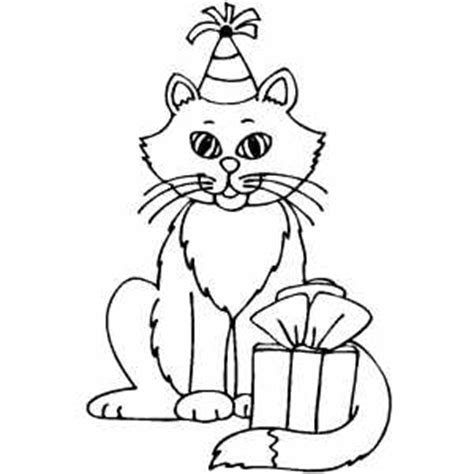 happy birthday cat coloring page kitty birthday coloring page