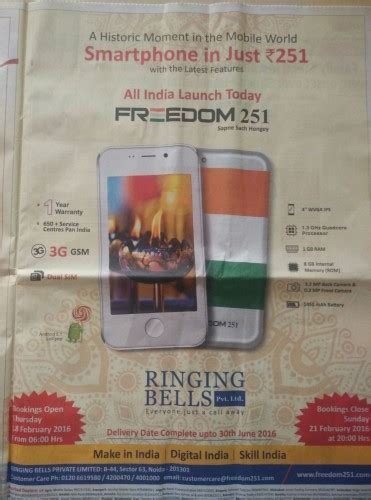 Smartphone Bell Freedom 251 freedom 251 smartphone in just rs 251 freedom 251 specification