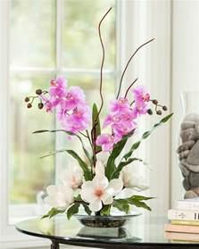 artificial floral centerpieces magnolias orchids silk flower arrangement for home and