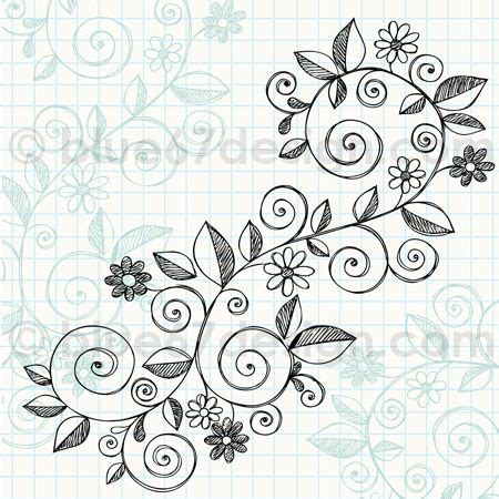 doodle lifestyle vine sketchy notebook doodle vine with flowers
