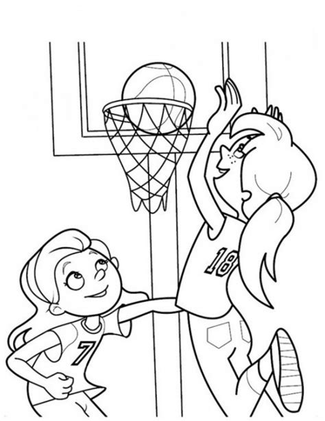 coloring pages with basketball girls playing basketball coloring page sports coloring