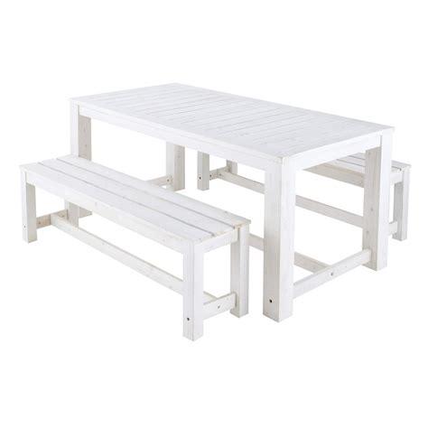 panche e tavoli in legno tavolo bianco 2 panche da giardino in legno l 180 cm