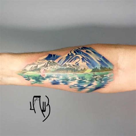 watercolor mountain tattoo 20 scenic landscape tattoos mountain mountains