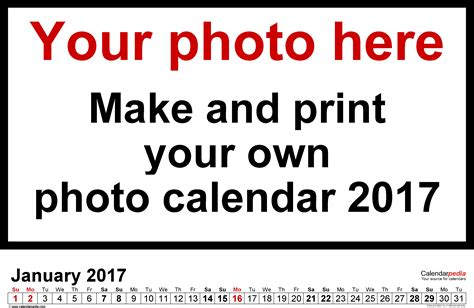 photo calendar 2017 free printable word templates