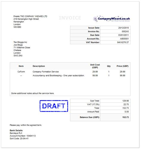vat invoice template uk | example good resume template, Invoice examples