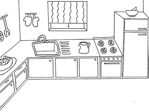 coloring page of a kitchen kitchen coloring
