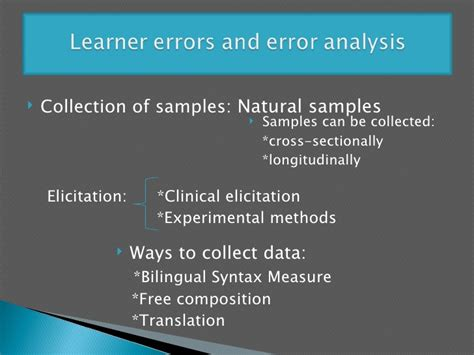 cross sectionally learner errors and error analysis