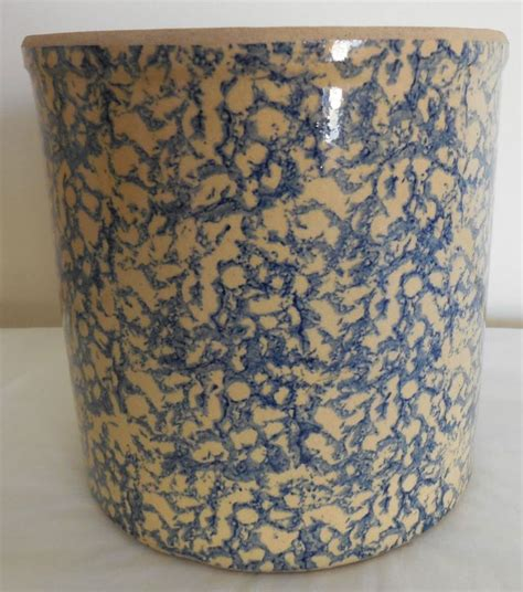 Roseville Planter by Large R R P Co Roseville O Pottery Blue Sponge Ware