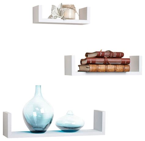 floating u laminated veneer shelves set of 3 white