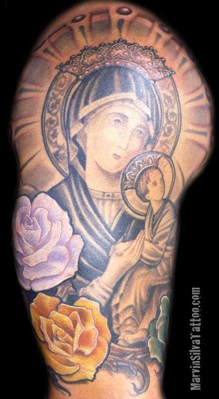 tattoo mary jesus virgin mary and baby jesus tattoo by marvin silva tattoonow