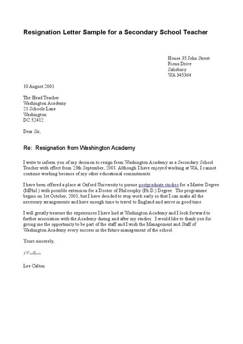 Resignation Letter For A In School Resignation Letter Sle For A Secondary School Hashdoc