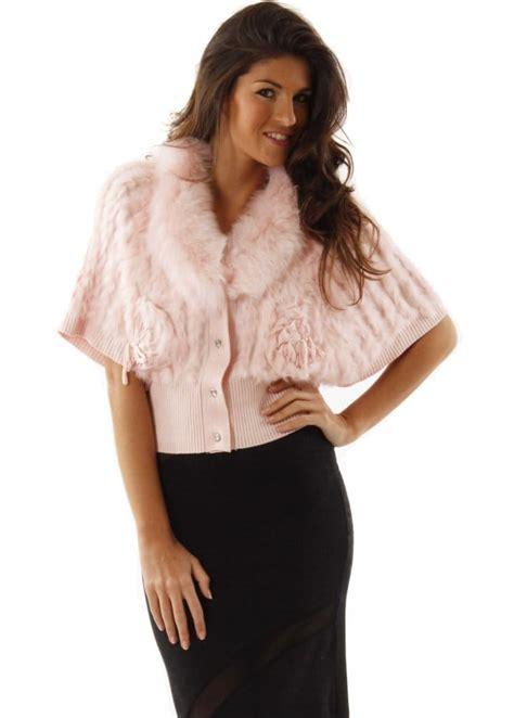 Dress Cardigan Rabbit Pink designer baby pink fur cardigan designer fur knitted