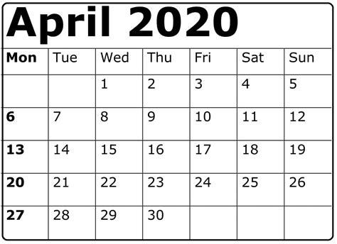 printable april  calendar template    heart