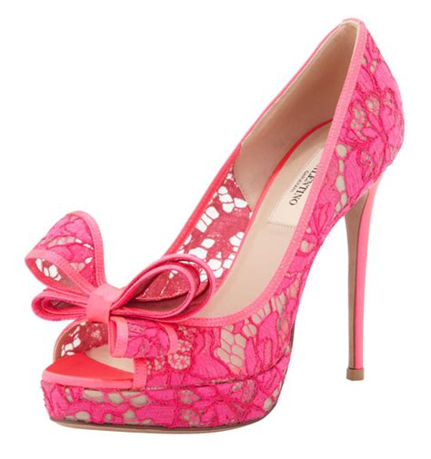 valentino pink lace bow peep toes gt shoeperwoman