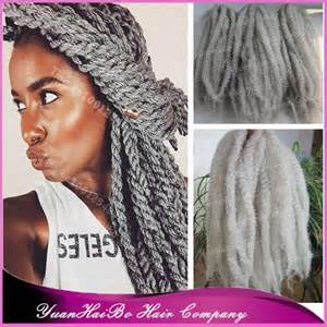 gray marley braid hair stock 20 quot fold silver grey synthetic hair afro kinky