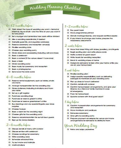 Wedding Reception Checklist Pdf by Wedding Planning Checklist Sle In Pdf 8 Exles In Pdf