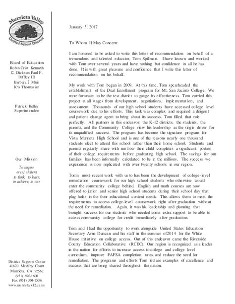 Recommendation Letter For Superintendent Letter Of Recommendation From Murrieta Superintendent Pat