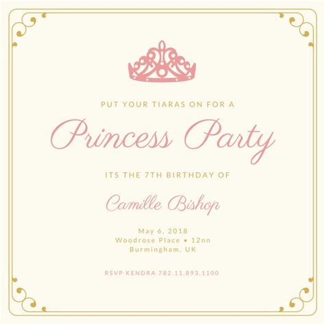 Princess Theme Wedding Invitations by Customize 174 Princess Invitation Templates Canva