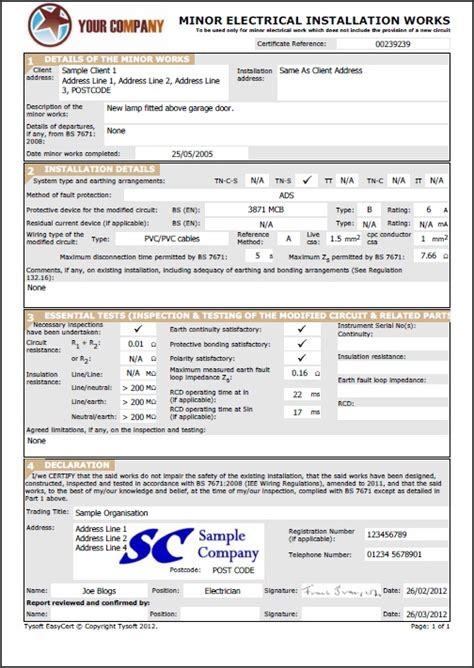 minor electrical installation works certificate template damiancalhoun1 s