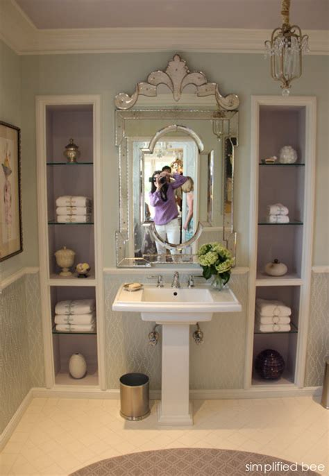 lavender bathroom with venetian mirror simplified bee