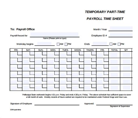 employees timesheet template 12 payroll timesheet templates free sle exle