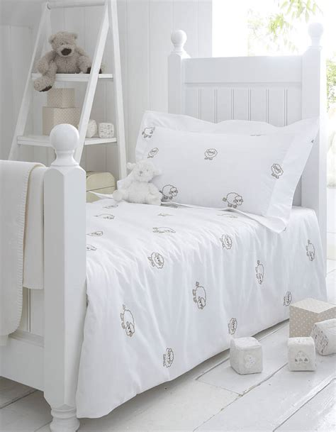 Nursery Bedding Sets Uk Sheep Embroidered Organic Pillowcase By The Cotton Company Notonthehighstreet
