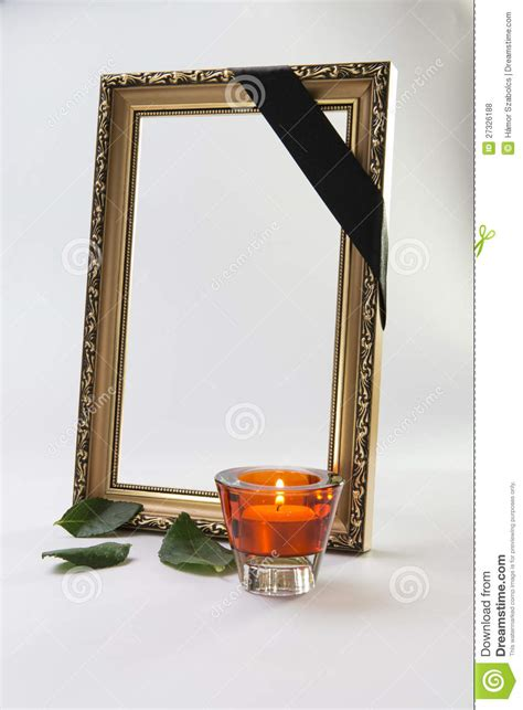 Candle Frame Gold Picture Frame With Flower And Candle Royalty Free