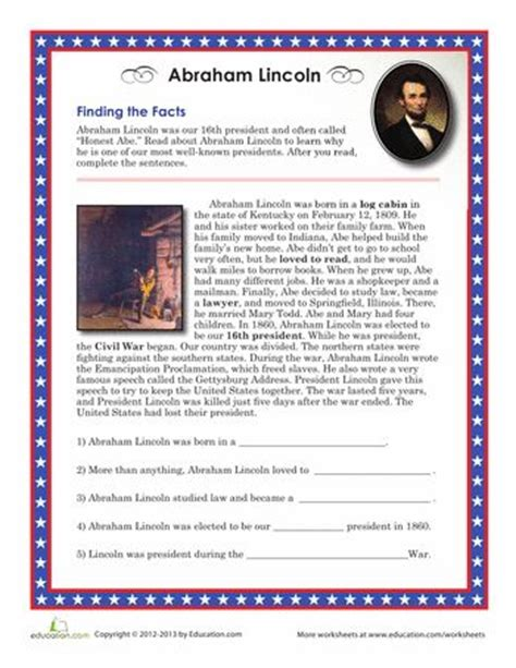 biography of abraham lincoln worksheet answers abraham lincoln facts abraham lincoln facts worksheets
