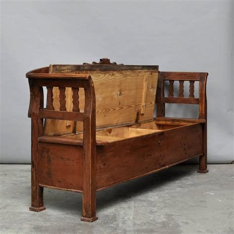 storage bench for sale antique storage bench with original paint circa 1920 for sale at 1stdibs