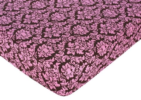 Pink And Brown Bella Fitted Crib Sheet For Baby And Pink And Brown Damask Crib Bedding