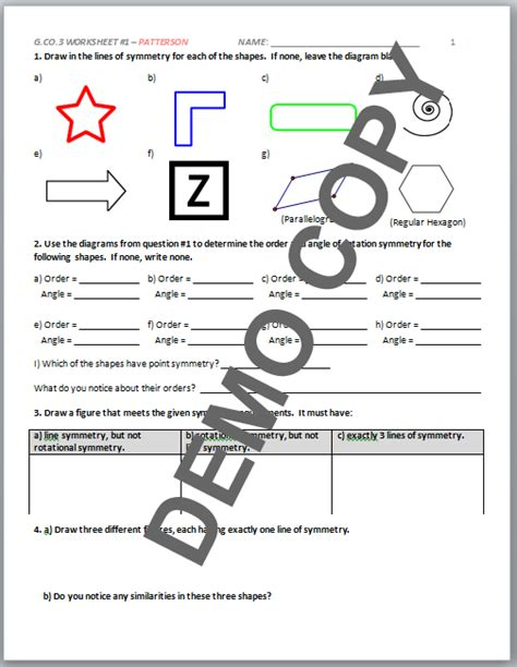Geometry G Rotations Worksheet 1 by Geometry G Rotations Worksheet 1 Answers Geometry Honors