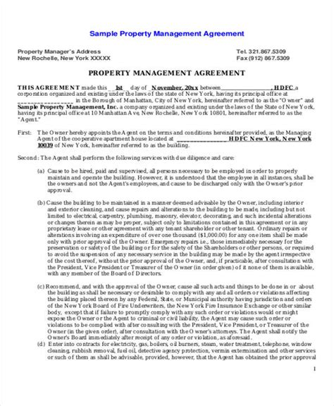 property management agreement template sle commercial property management agreement 6