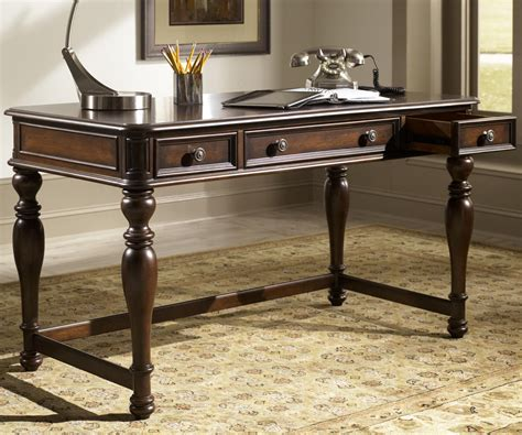 writing desk with drawers writing desk with three drawers in cognac finish by