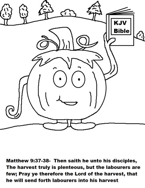 autumn coloring pages for sunday school pumpkin holding bible coloring page