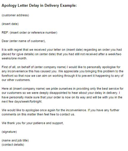 Business Letter Of Apology Late Delivery apology letter delay in delivery exle just letter