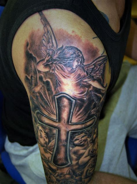 cross half sleeve tattoo 31 best christian tattoos on half sleeve