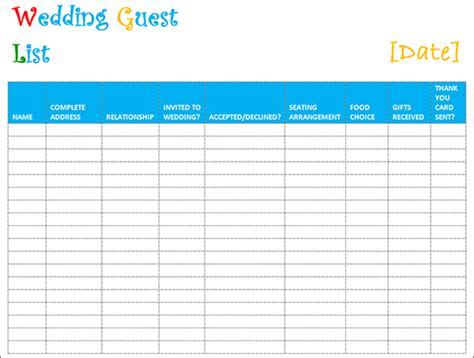 printable wedding invite list 7 wedding guest list template free word excel pdf formats