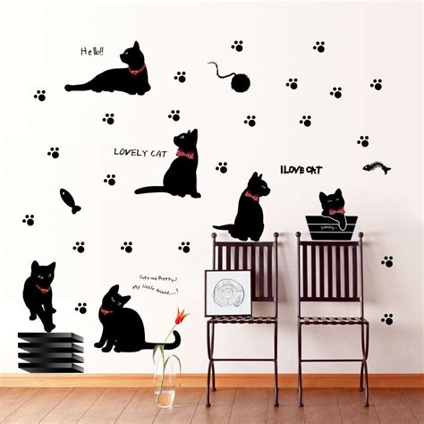 cat wallpaper home decor black cat with bow tie and paw wall art mural decor
