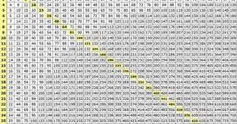 50 x 50 multiplication chart math journal