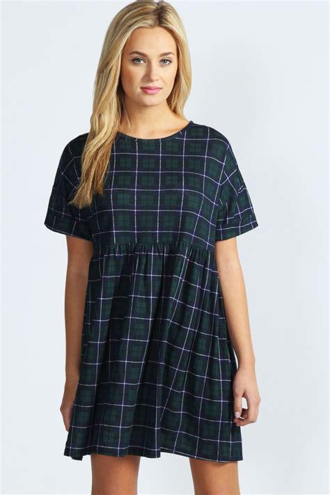 pattern dress boohoo boohoo kate tartan oversized smock dress in multi ebay