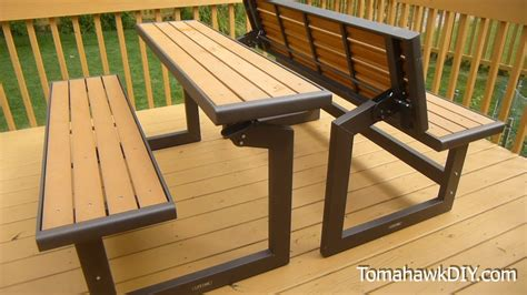 bench to table awesome convertable picnic table bench review youtube