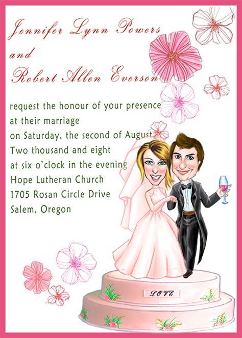 caricature wedding invitation card wedding invitations humorous wedding invitations