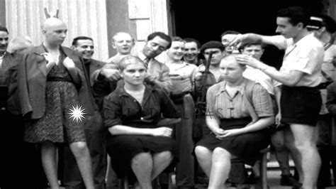french female nazi collaborators with shaved heads marched barber shaves heads of french female nazi collaborators